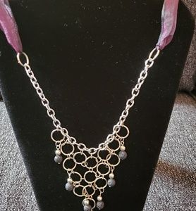 Silver necklace with lace